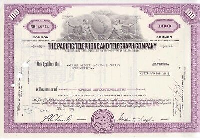 1977 Pacific Telephone and Telegraph Co stock certificate (California)