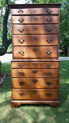 Mid-Late 18th Century Chippendale Nine Drawer Chest on Chest