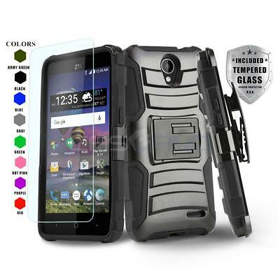 Refined Armor Cover Phone Case & Holster Clip For [Zte Maven 3] +Tempered Glass