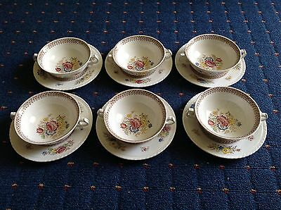 SET OF 6 SOUP COUPES WITH UNDER-SAUCERS, 1940s, PEOVER PATTERN, MISSPELT PEEVER.