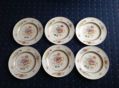 CROWN DUCAL SET OF 6 DINNER PLATES, 1940s, PEOVER PATTERN, MISSPELT PEEVER.