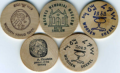 Collection of 5 Wooden Shekels from Jewish-American Hall of Fame (Magnes Museum)