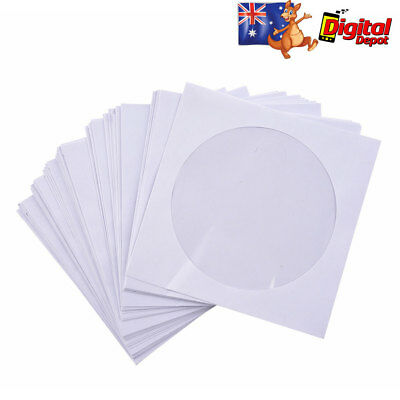 100pcs CD Disc DVD Envelope Cases Paper Bag Sleeves Clear 80GSM HEAVY DUTY