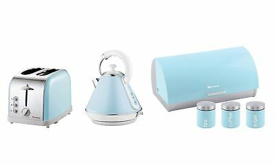 Set of Electric Kettle, Toaster, Bread bin & 3 Canisters - Light Blue