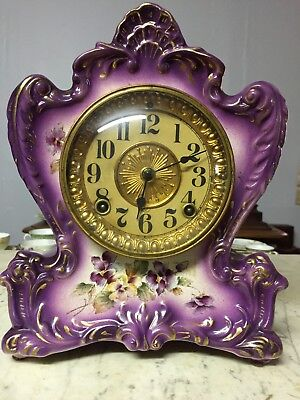 ANTIQUE ANSONIA MANTEL CLOCK - EARLY 1900'S MADE OF Porcelain