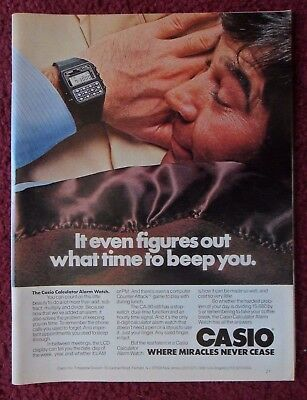 1981 Print Ad CASIO CA-90 Calculator Alarm Watch ~ Figures What Time To Beep You
