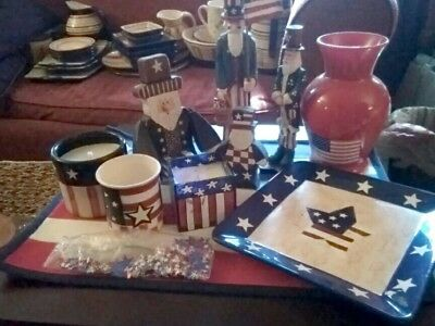 """🇱🇷🇱🇷 Adorable Americana decor lot """"used but nearly mint"""" 🇱🇷🇱🇷"""