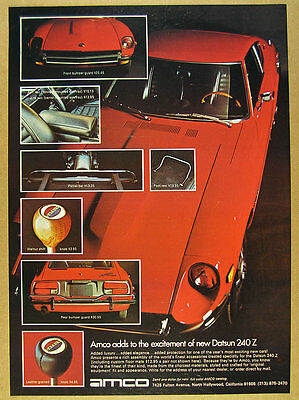 1972 Amco Accessories for DATSUN 240-Z 240Z red car color photo vintage print Ad