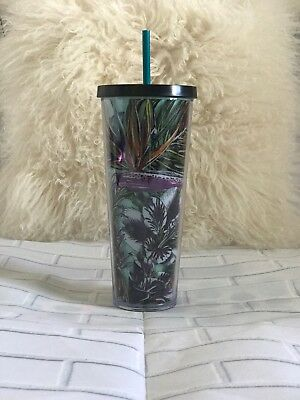 NEW 2017 Starbucks Tropical Cold Cup Tumbler 24 Oz. Venti NWT  (mint Interior)
