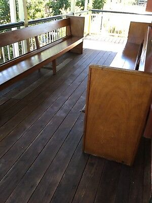Antique Pair Church Pews Solid Silky Oak 3.4 Meters