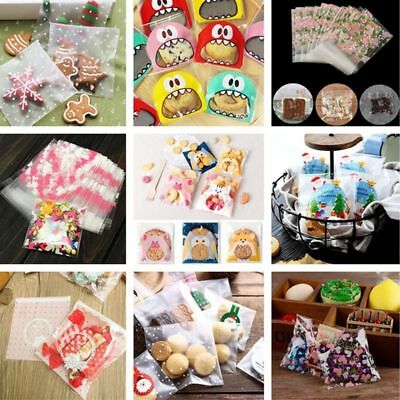 100Pcs Self Seal Adhesive Plastic Cute Cello Cellophane Cookies Candy Bags Gift