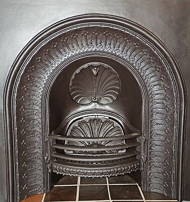 Rare Victorian arched cast iron fireplace