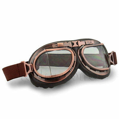 Retro Vintage Pilot Aviator Goggles Motorcycle For Harley Racer Cruiser Clear