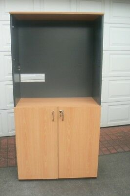 Shelving Unit with Lockable Cupboard, Office, Kitchen or Laundry Storage Cabinet