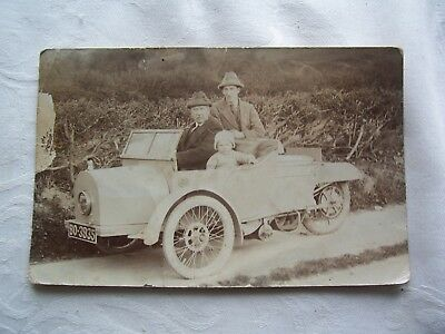 antique R/P postcard 2 men and boy in early car