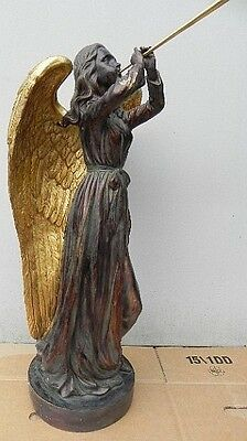 Angel with Trumpet Wood Look with Golden Wings, Casa Collection, New, 75 cm