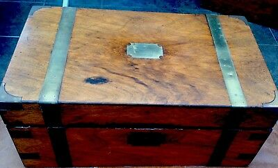 VERY LARGE ANTIQUE VICTORIAN WRITING SLOPE BOX FOR RESTORATION No Key 40x16x24cm