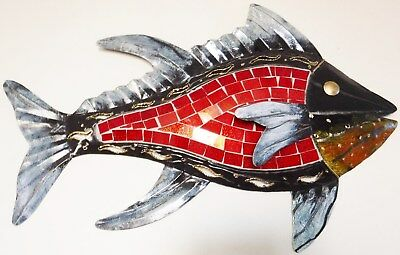 Metal Wall Art Fish S Black/Grey, Red Mosaic 45cm Long NEW