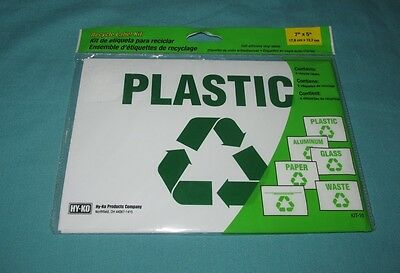 """NEW = RECYCLE SIGN LABEL KIT SELF AHESIVE VINYL LABELS = 6 PIECES 7"""" x 5"""" KIT-10"""