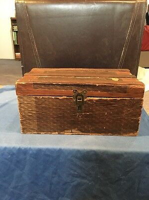 Antique Small Wood Child's Trunk, Chest Original