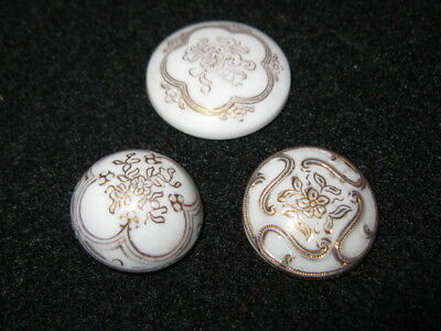 Trio of Victorian Glass Buttons