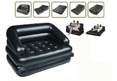 5In1 Multifunctional Inflatable Double Air Sofa Chair Couch Lounger Bed Mattress
