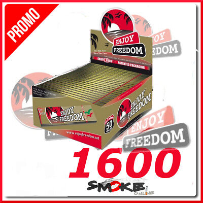 1600 CARTINE ENJOY FREEDOM ORO King Size SLIM LUNGHE 1 BOX 50 LIBRETTI