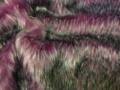 Super Luxury Faux Fur Fabric Material - LONG LIPSTICK PINK FLECK