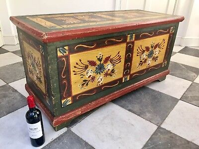 Rare Antique Continental Painted Pine Blanket Box / Marriage Chest / Window Seat