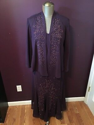 Plum Purple Mother of the Bride Groom Formal Dress Womens Size 14 16