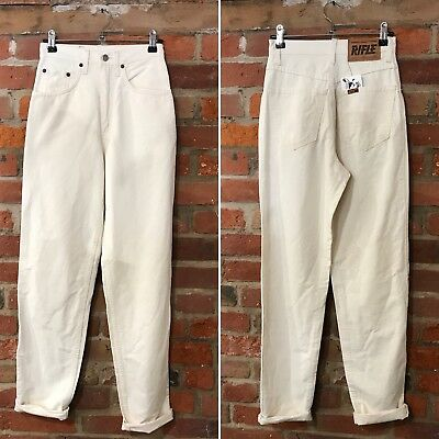 VINTAGE MOM JEANS HIGH WAISTED TAPERED 90s CREAM CALICO (J76) W24 L31 SIZE 6