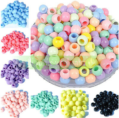 Bulk 10-18mm Big Hole Charms Candy Color Acrylic Round Spacer Beads Making Craft