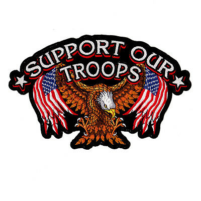 We Support Our Troops American Flag&eagle Military Patriotic Usa Sew Patch Big
