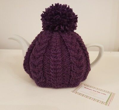 Hand Knitted Aran Tea Cosy - Loganberry (Purple)