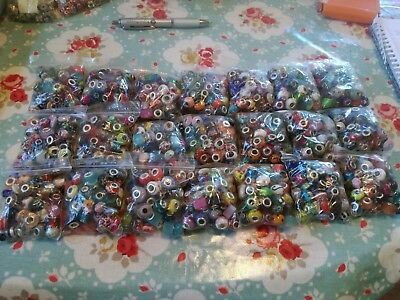 50 x Mixed colour European Charm/Troll beads with Silver colour 3mm core