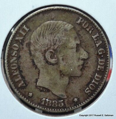 Spanish Colonial Philippines 1885 Fifty Centimos ASW .3485