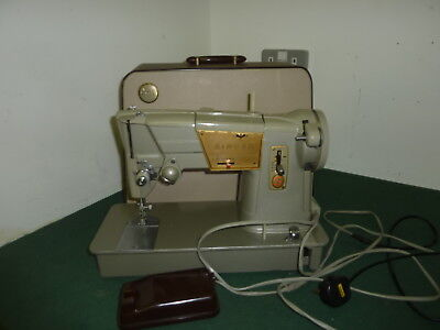 Vintage 1963 SINGER 328K Heavy Duty Electric Sewing Machine with Foot Pedal