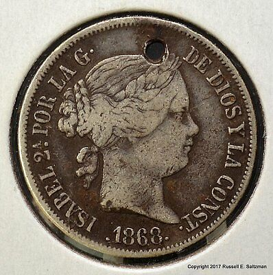 1868 Ten Centimos Spanish Colonial Philippines - Holed - VF Details