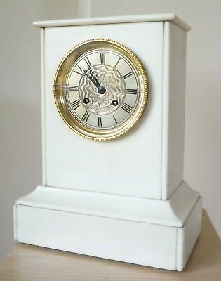 Antique French Silk Suspension White Marble Mantel Clock, Henry Marc, Serviced