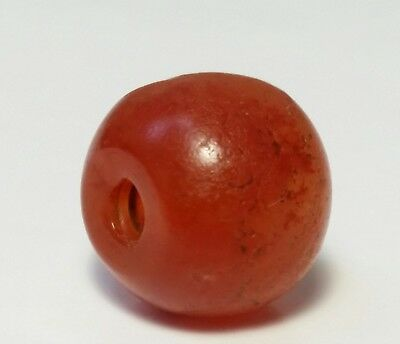 Ancient Rare Indo-Tibetan Carnelian Patinized Agate Bead