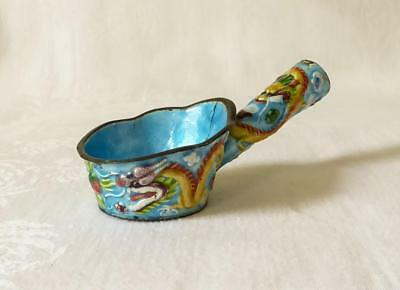 19TH C CHINESE ENAMELLED SPOON OR LADLE WITH DRAGONS IN RELIEF  c1880
