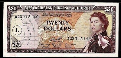 East Caribbean States  UNC  Island of  St.Lucia $ 20 1965