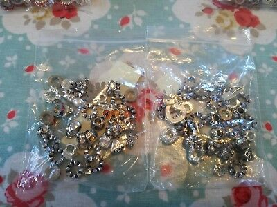 Mixed silver/clear crystal European charm/snake  spacer beads x 30 with 3mm core
