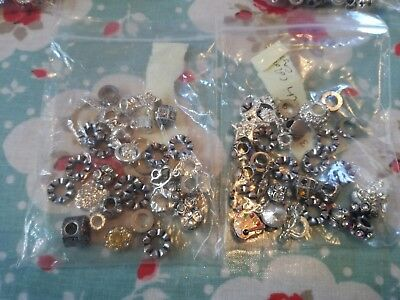 Mixed silver/clear multi European charm/snake  spacer beads x 30 with 3mm core