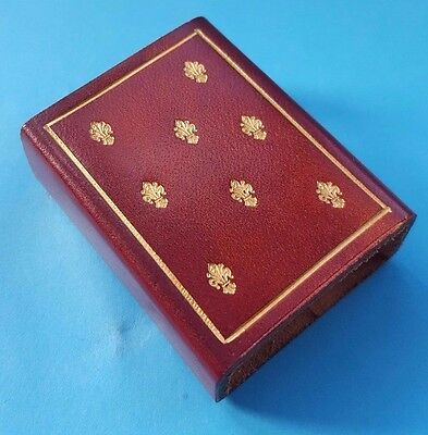 Red Leather match box holder - Made in Italy Souvenir