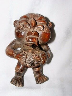 Antique Pre-Columbian Chinesco Ancient Clay Figure Statue Vessel Protoclassic