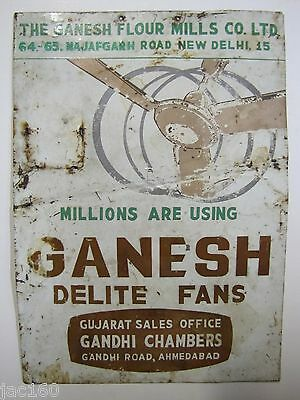 Old GANESH DELITE-FANS Advertising Fan Sign Unusual Ganesh Flour Mills tin metal