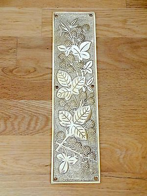 Cast Brass Arts & Crafts Style Blackberry Door Finger Push Plates