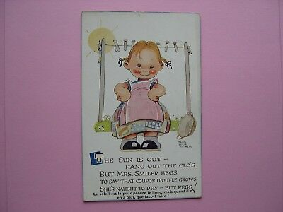 Mabel Lucie Attwell vintage postcard - The sun is out - 1946