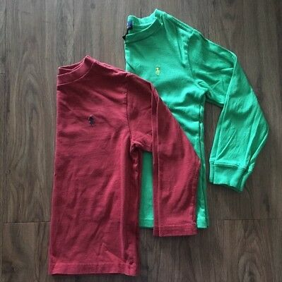 Polo Ralph Lauren Youth Boys Size 5 6 Long Sleeve Red Green Crew Neck Shirt